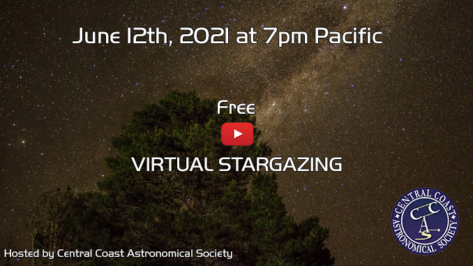 Banner showing link to join the virtual Stargazing on June 12thj, 2021